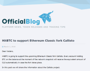 HitBTC to support Ethereum Classic fork Callisto
