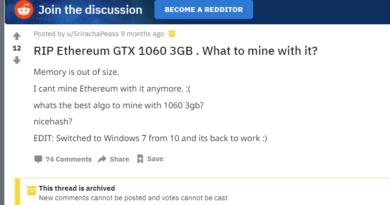 RIP Ethereum GTX 1060 3GB. Что майнить?